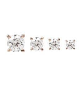 14k RG 3mm Prong Set CZ Threadless End