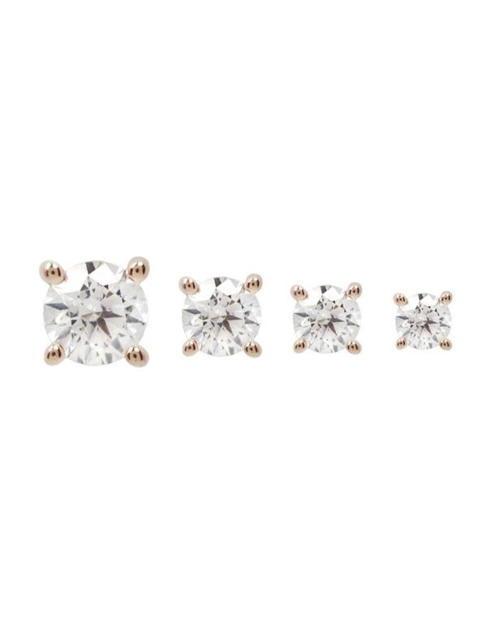 14k RG 2.5mm Prong Set CZ Threadless End