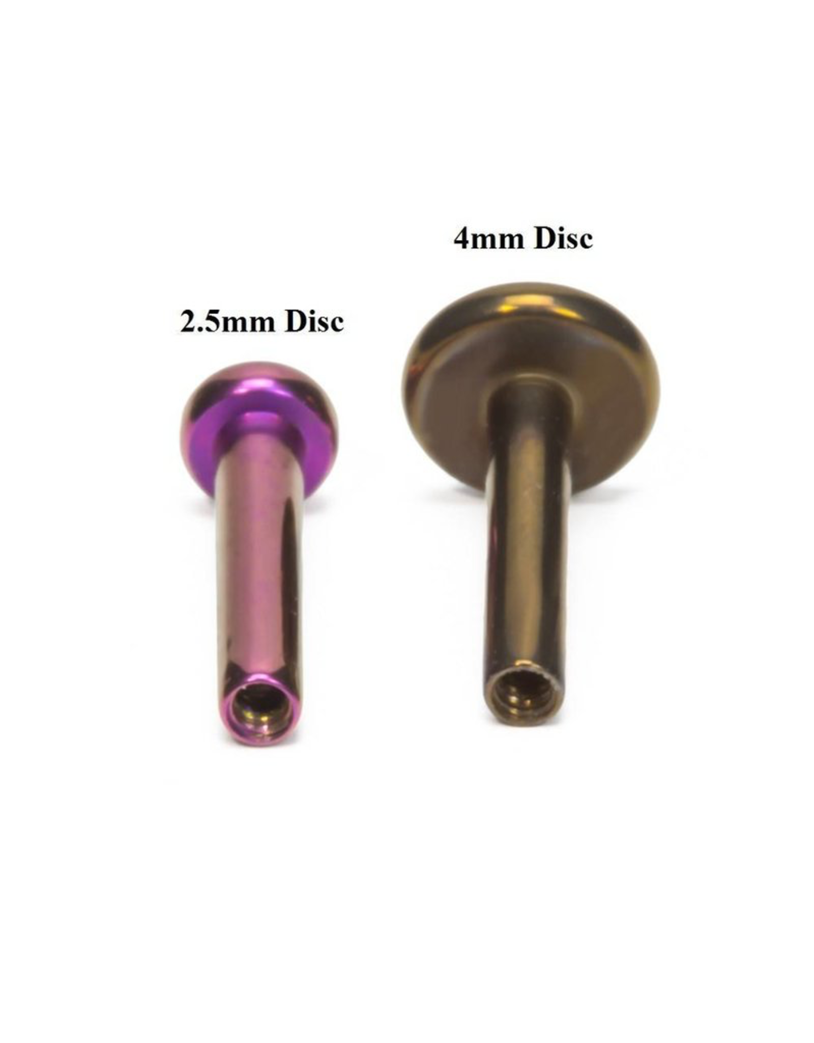 14g Titanium Threadless Flat Back Post (4mm Disk)