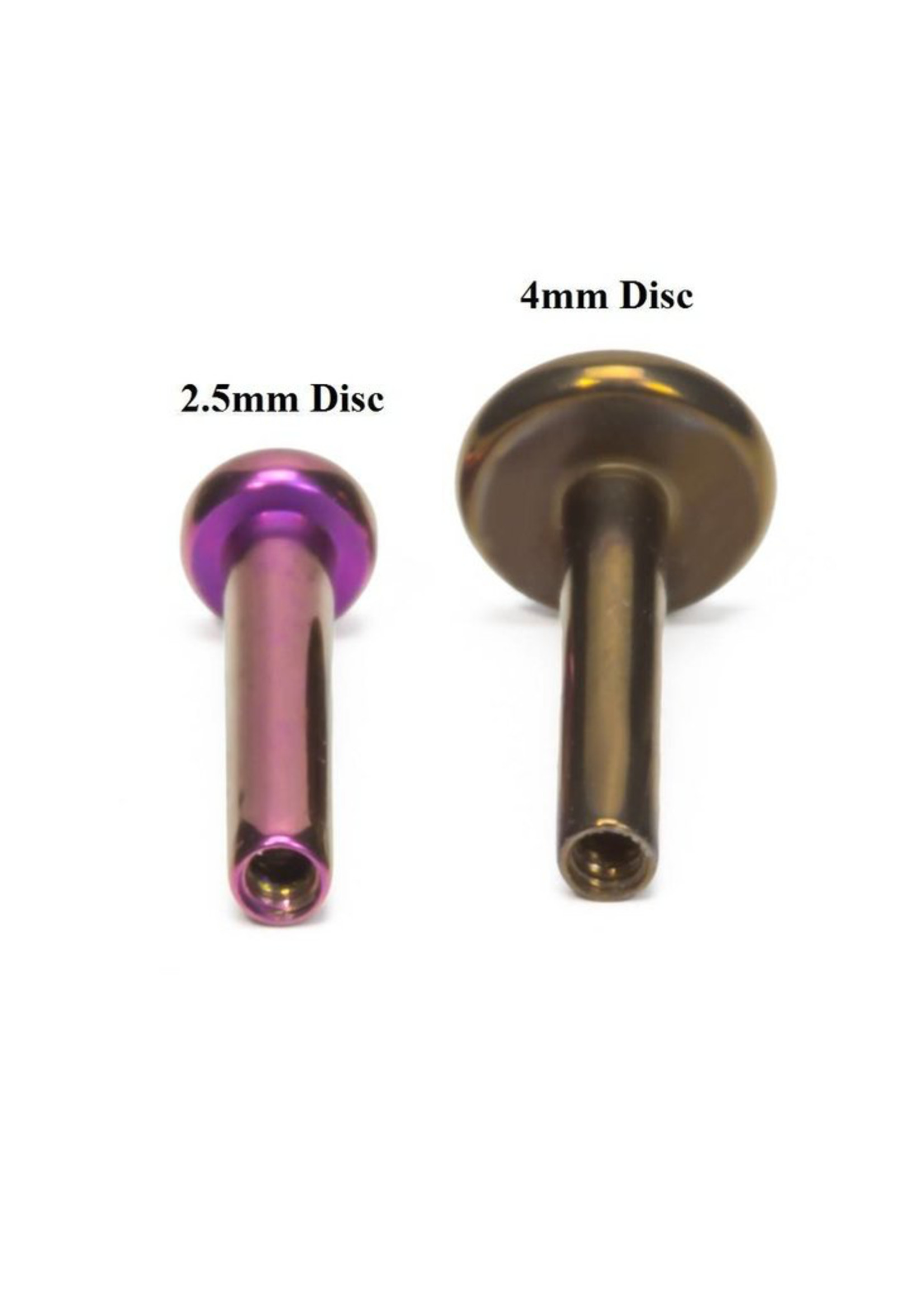 14g Titanium Threadless Flat Back Post (4mm Disk)
