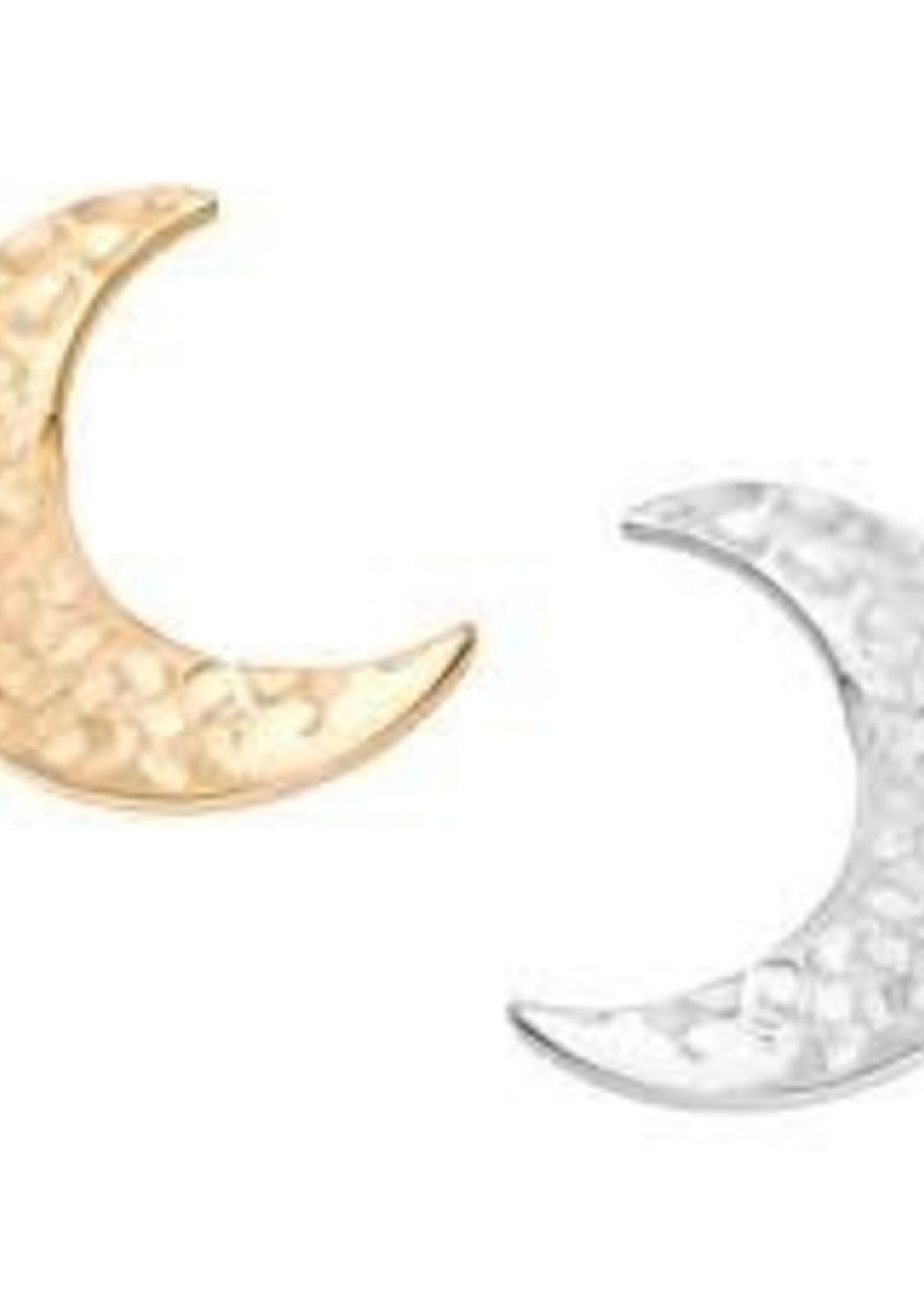 18k WG Hammered Crescent Moon (6.5mm)