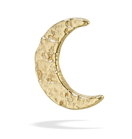18k WG Hammered Cresent Moon (6.5mm)