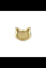 14k YG Sandblasted Raised Cat (6mm) Threadless Pin