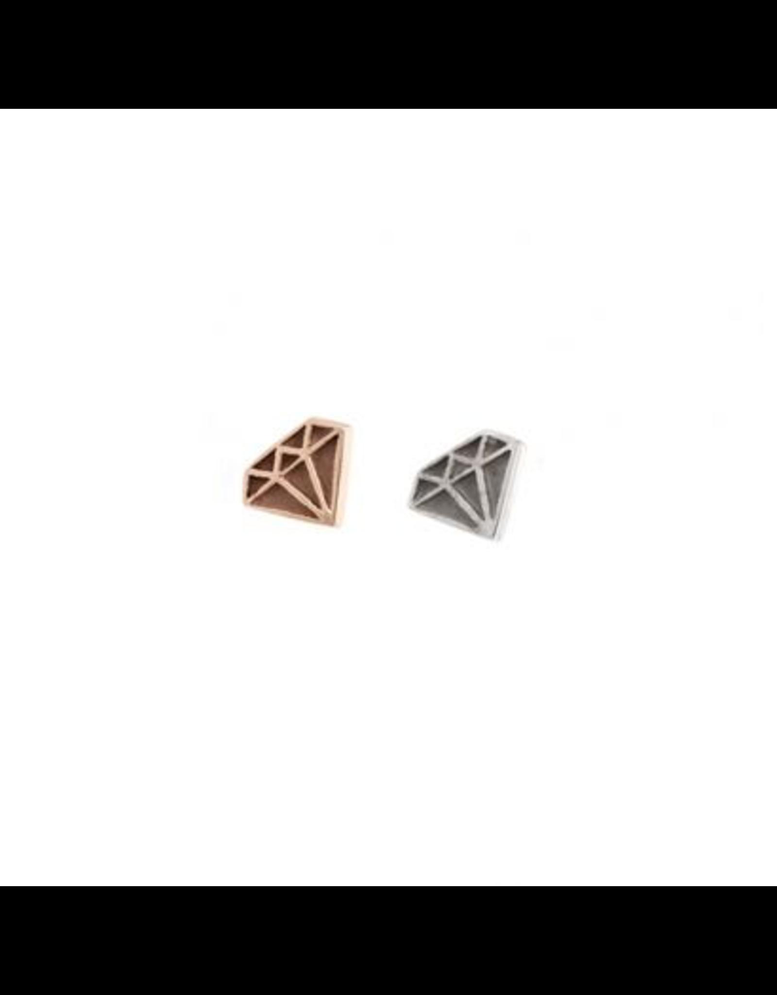 14k RG Diamond Profile  (6mm) Threadless Pin