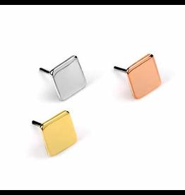 14k RG Flat Square (4mm) Threadless Pin