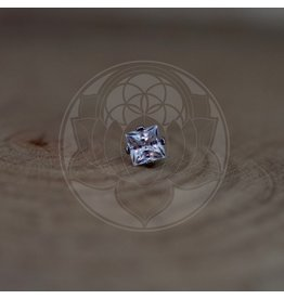 Ti 4-Prong Princess Cut 3mm Gem Threadless End