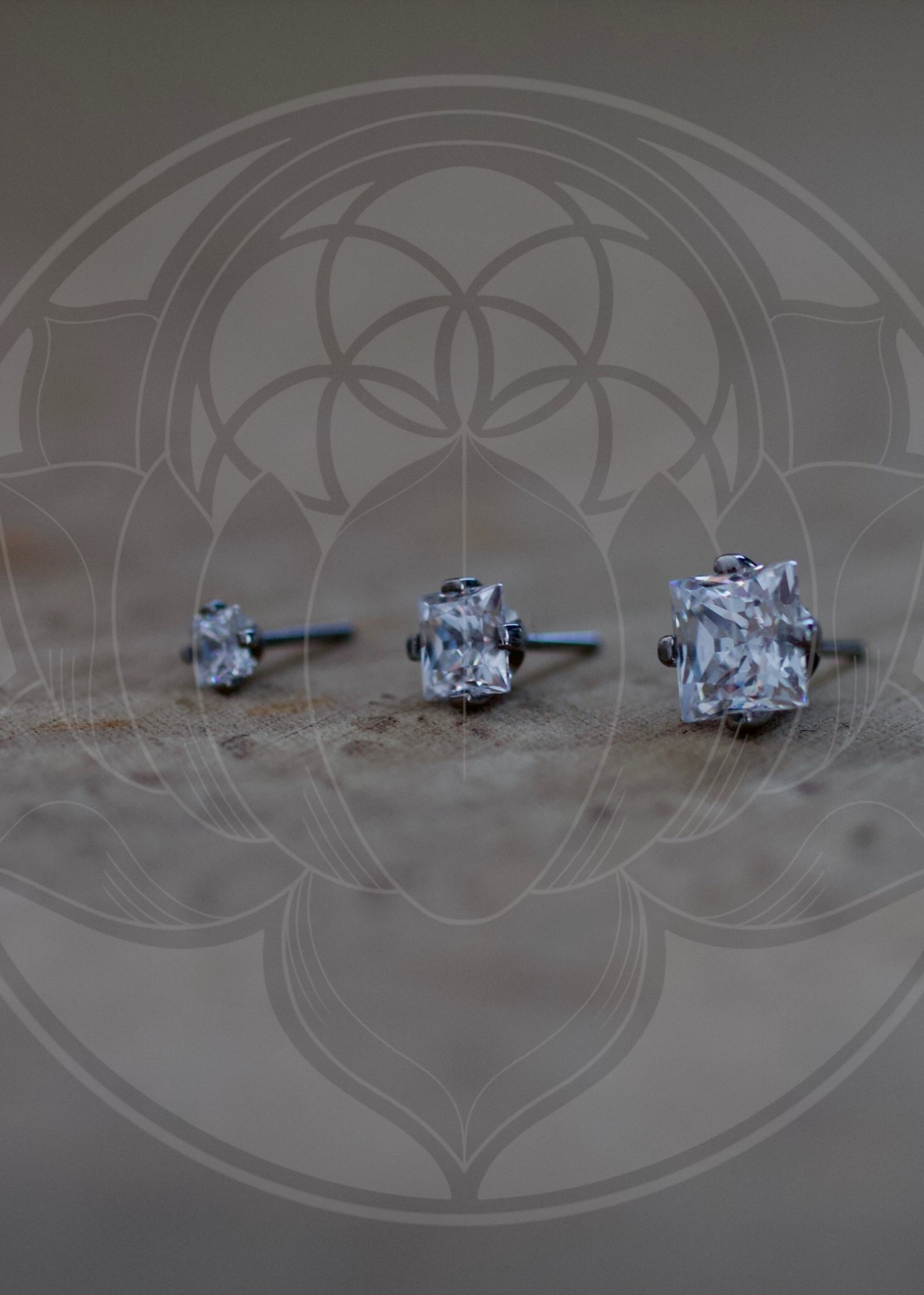 Ti 4-Prong Princess Cut 3mm Gem Threadless End