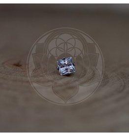 Ti 4-Prong Princess Cut 4mm Gem Threadless End