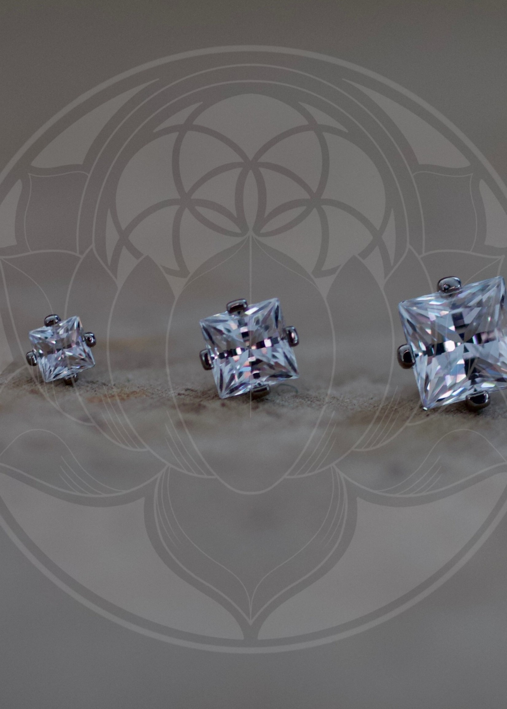 Ti 4-Prong Princess Cut 4mm Gem Threadless End