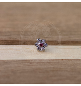 Ti MD CZ Flower Threadless End