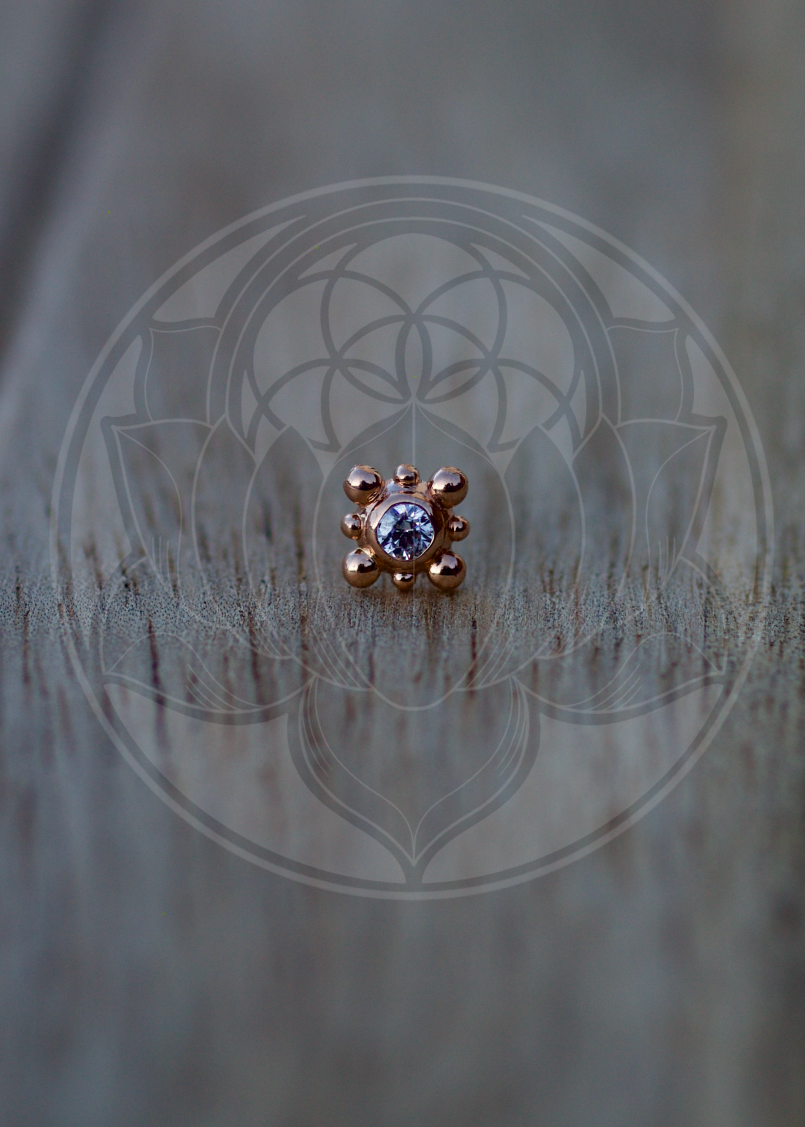 14k RG Burst (Bali) 2mm CZ Threadless Pin