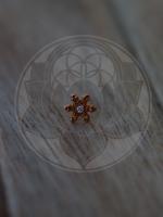 14k RG Snowflake 1.2mm Stones (6.5mm) Threadless Pin