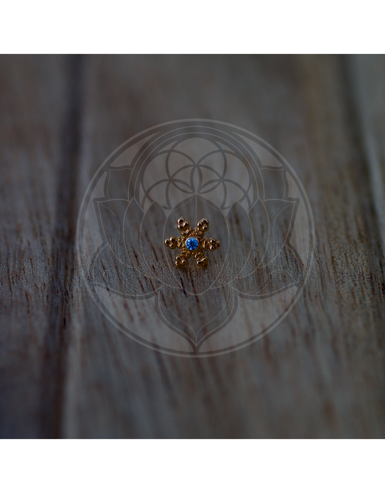 14k YG Snowflake 1.2mm Stones (6.5mm) Threadless Pin