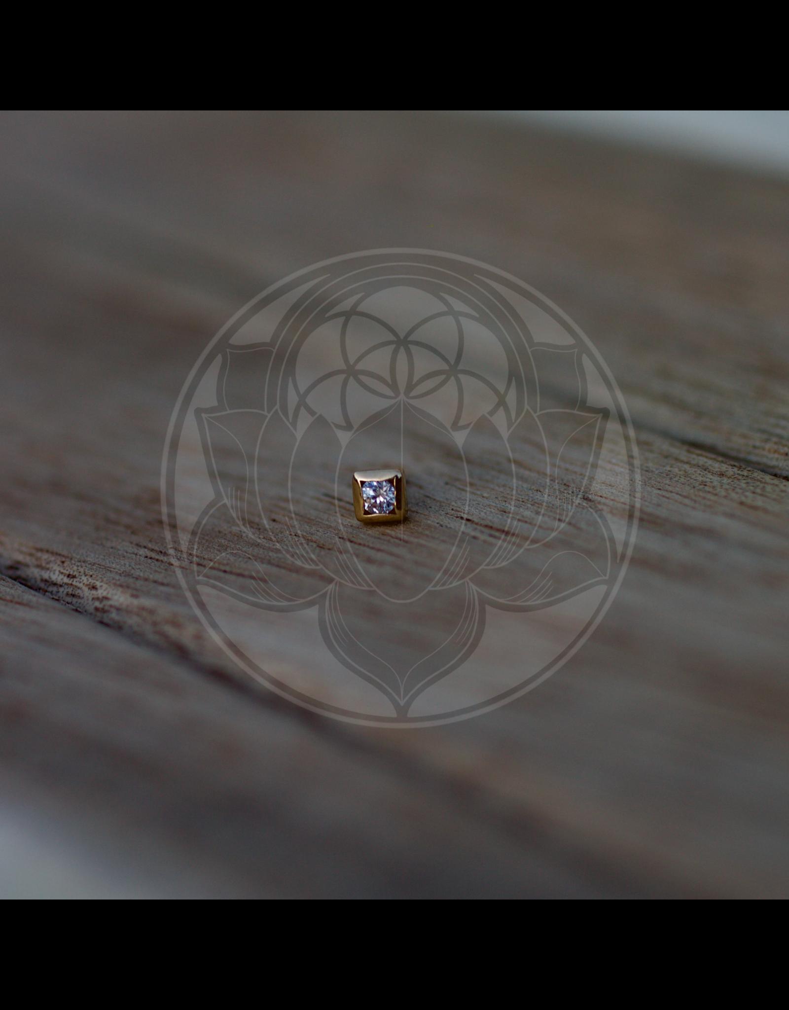 14k Square 2mm CZ (3mm) Threadless End