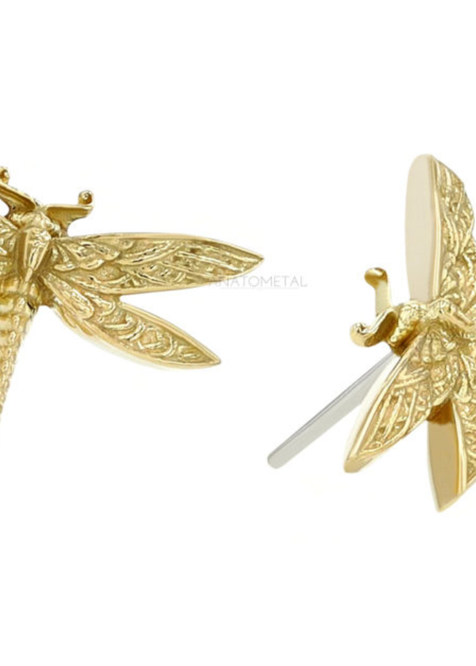 18k Dragonfly Pointed Tail Threadless End