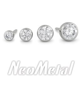 1.5mm Titanium Bezel Set Gem  Ends