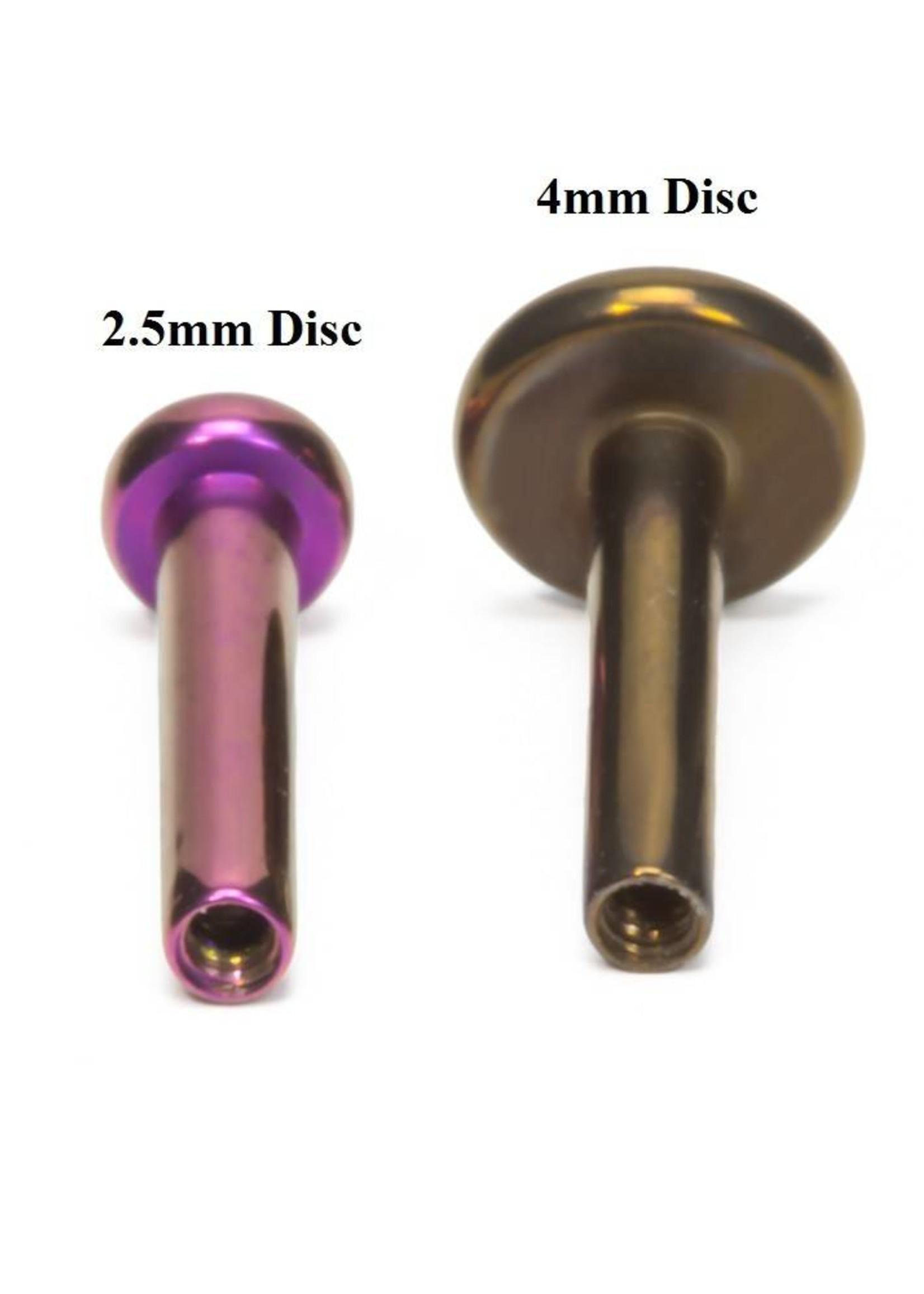 18g Titanium Internally Threaded Flat Back Post (2.5mm Disk)