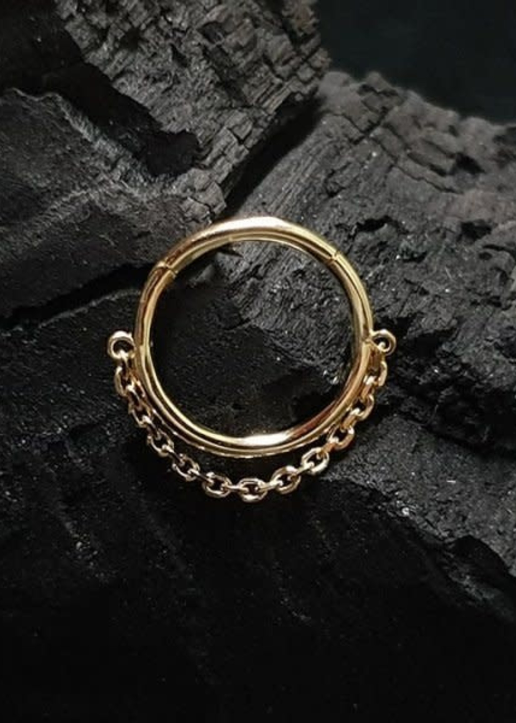 "14g 5/16"" 14k Yellow Gold Yunona Chain Hinged Ring"