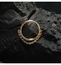 """14g 5/16"""" 14k Yellow Gold Yunona Chain Hinged Ring"""