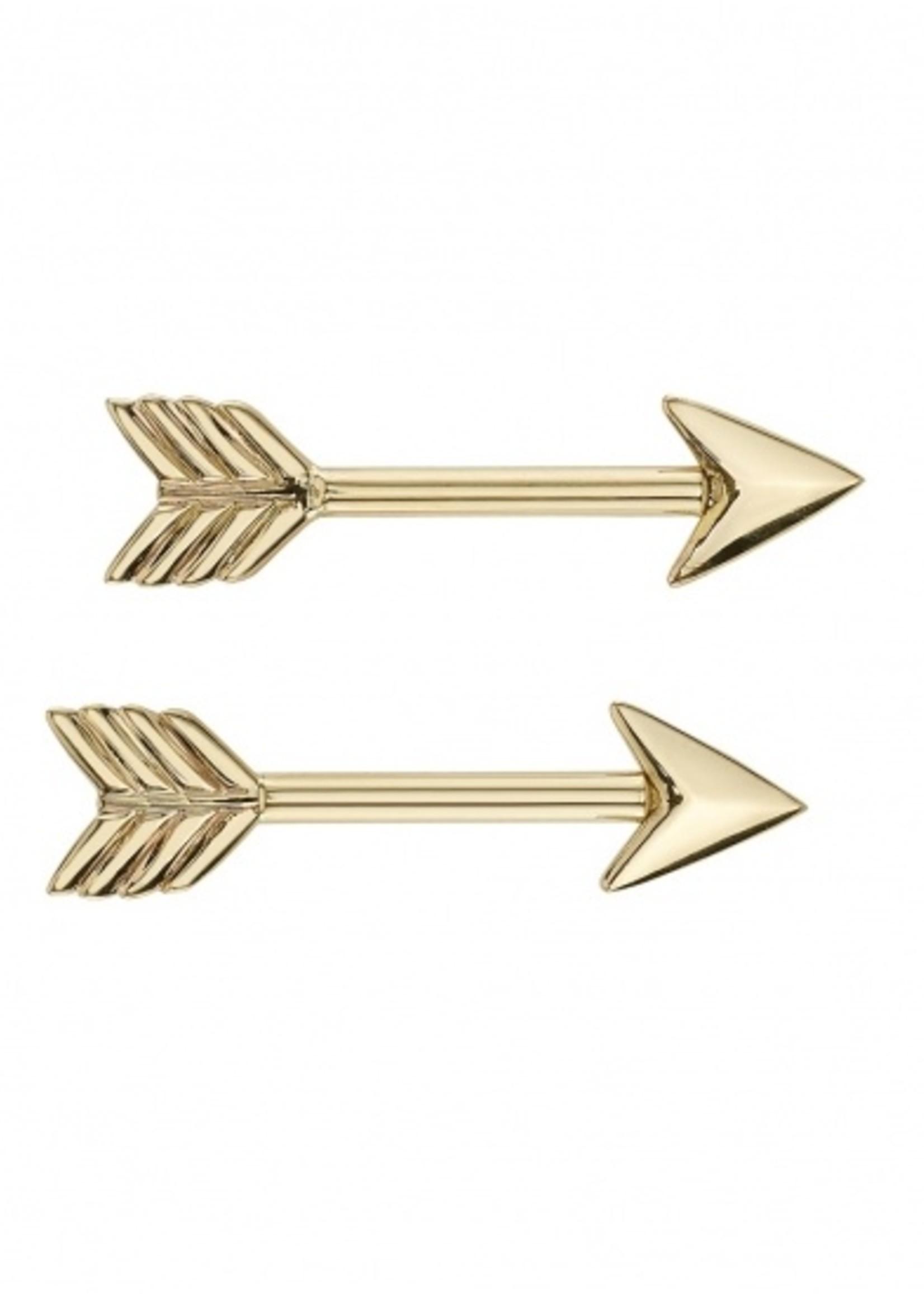 14k 14g Gold Arrow Threaded Ends (SET of 2)