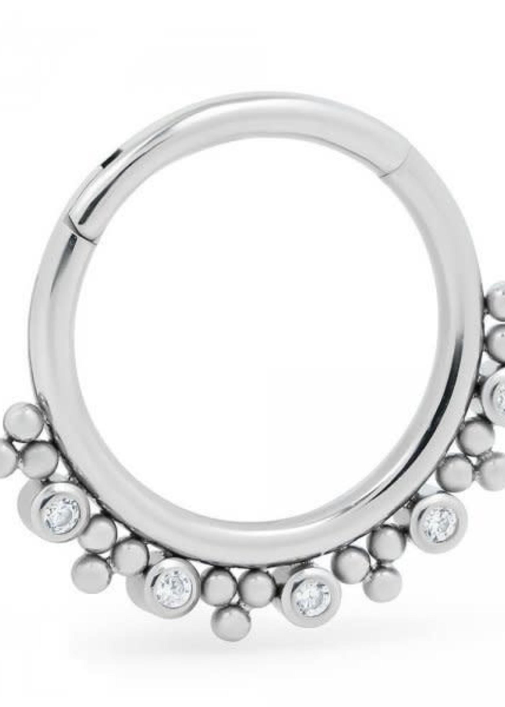 "16g 3/8"" Titanium CZ Beaded Enny Hinged Ring"