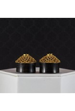 """1"""" Horn w/ Gold Plated Black CZ Inlay Plugs"""