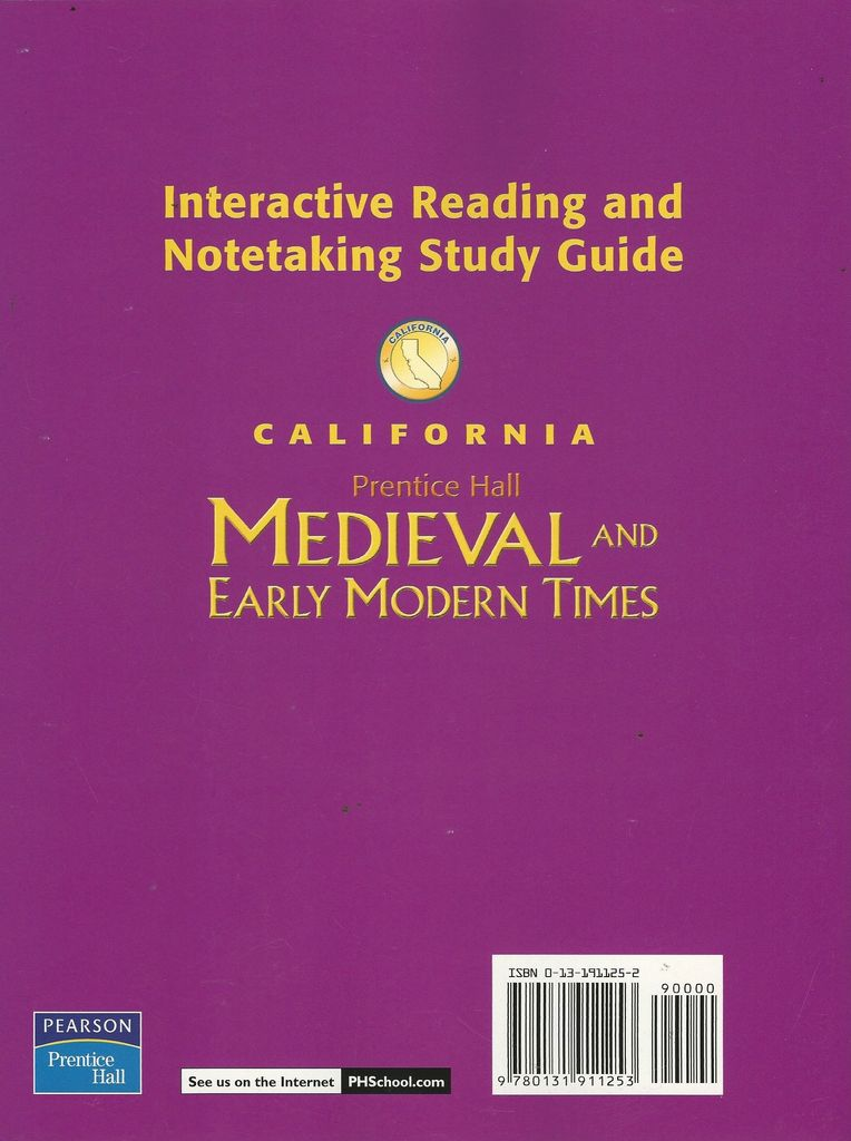 Medieval And Early Modern Times California Interactive Reading And Notetaking Grade 7