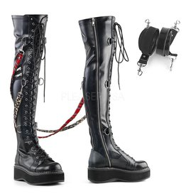 "Demonia Emily Over-the-Knee 2"" Platform Boots w/ Interchangeable Bondage Straps"