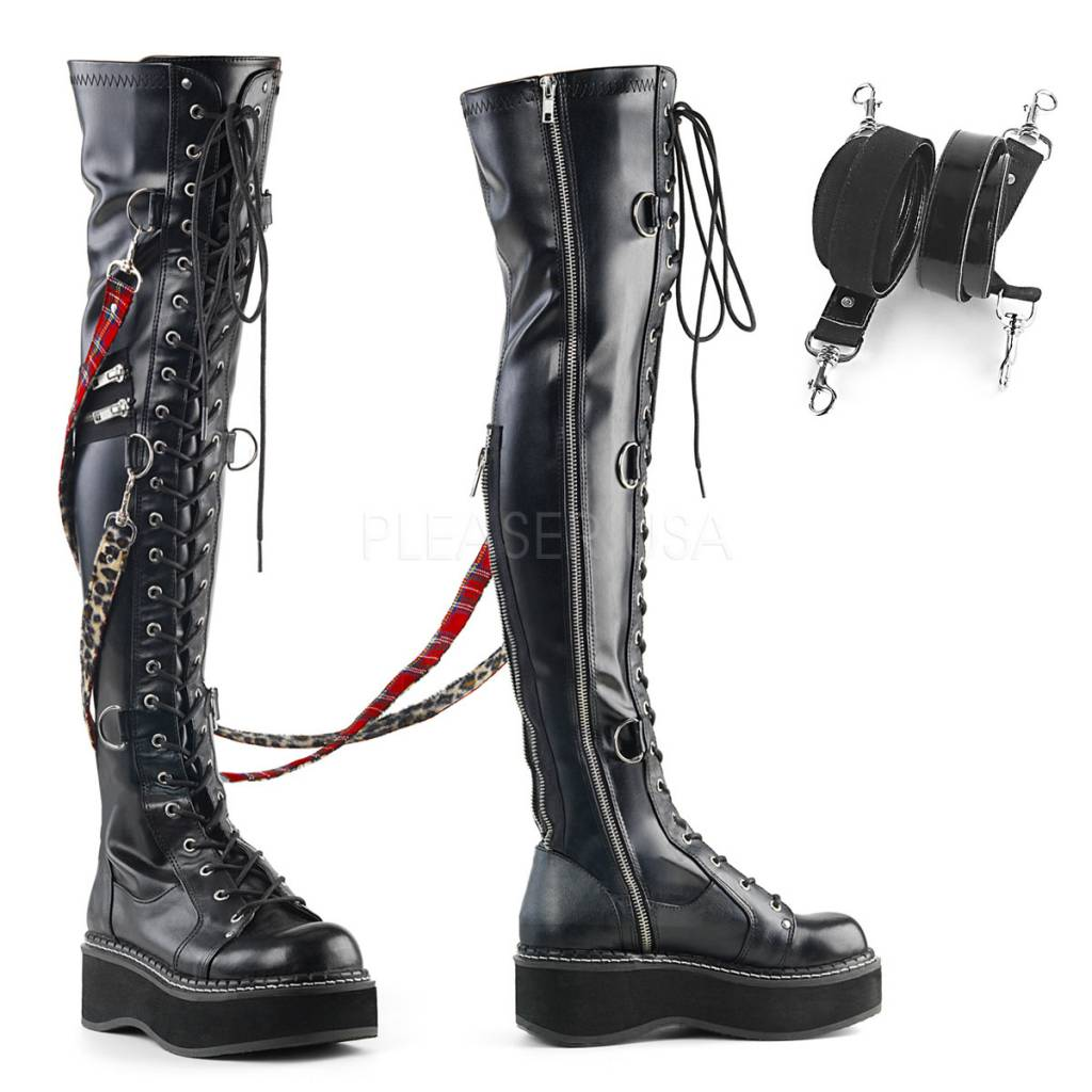 "Demonia Emily Over-the-Knee 2"" Platform Boots w/ Interchangeable Bondage Straps"