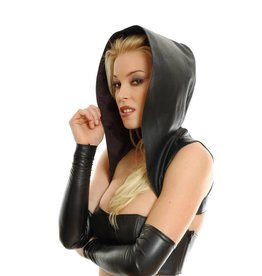 Leather Hooded Bolero Vest