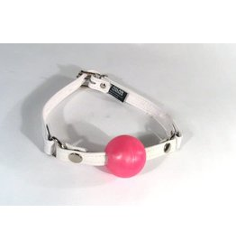 Pink silicone Ball Gag w/ White Leather Strap