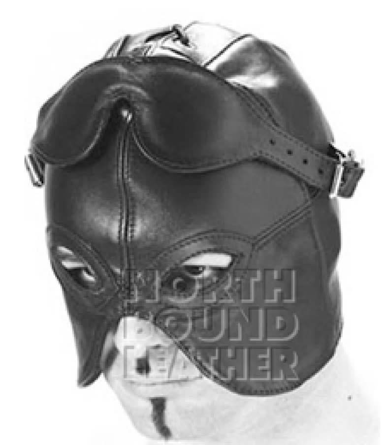 Leather Half Hood w/ Detachable Blindfold
