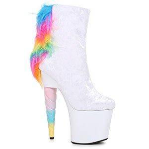 "7"" Unicorn Heel Ankle Boot W/ Mane"
