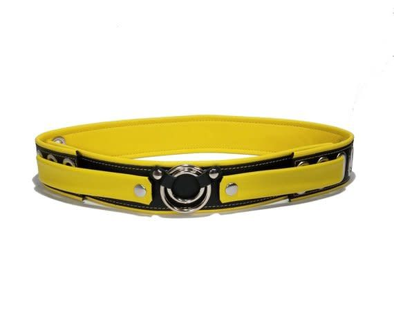 Two-Tone Leather Belt w/ Center Rings