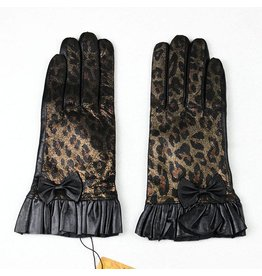 Lined Lambskin Leopard Print Glove