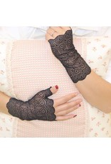 Lace Fingerless Gloves- Black One Size