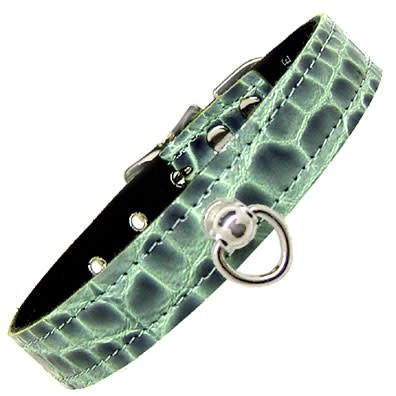 Exotic Post And D Ring Collar Croc Bl M/L
