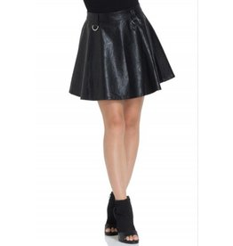Black Leatherette Mini Skirt
