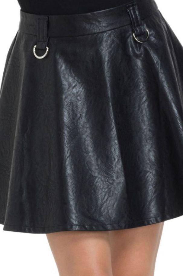 Black Leatherette Mini Skirt