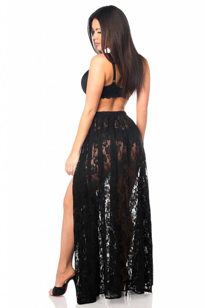 Daisy Long Sheer Lace Skirt w/ Side Slit