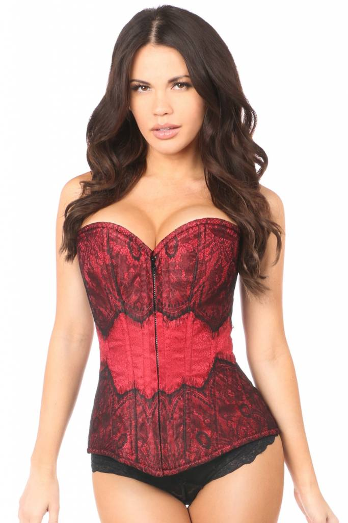 Daisy Lavish Brocade Zip Bustier with Eyelash Lace Overlay