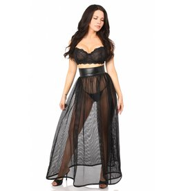 Daisy Fishnet and Leatherette Long Skirt