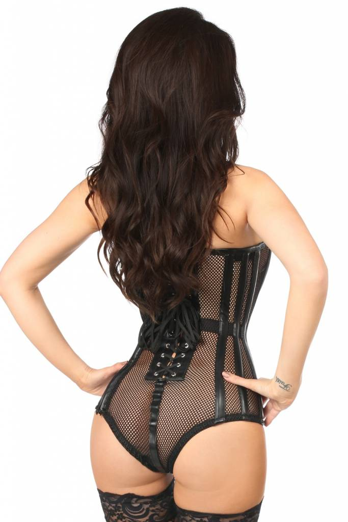 Daisy Fishnet and Leatherette Basque