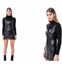 Square Neck Leatherette Jumper