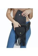 Fringed Leather Large Pouch Belt