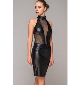 Leatherette Panel Pencil Skirt