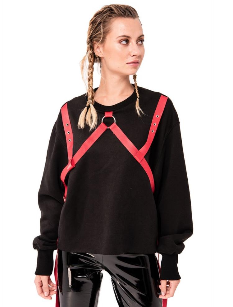 Long Sleeve Sweatshirt w/ Belt Accent