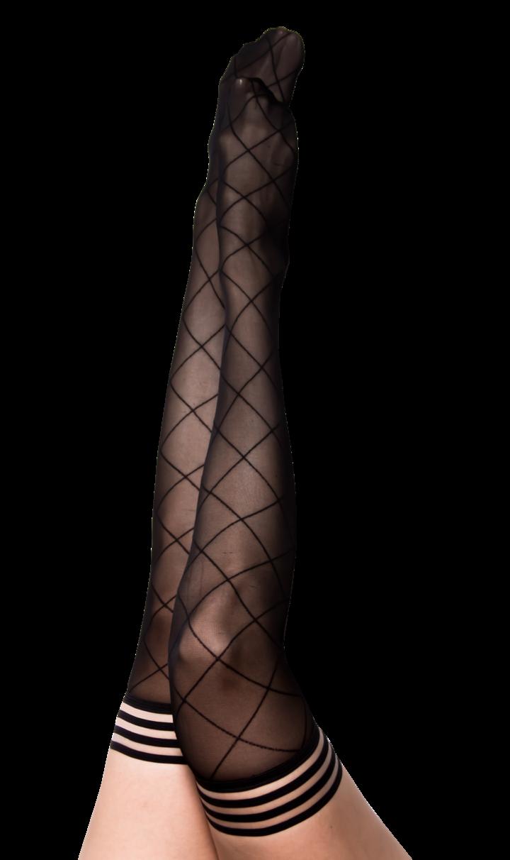 Anna Black Large Diamond Thigh Highs