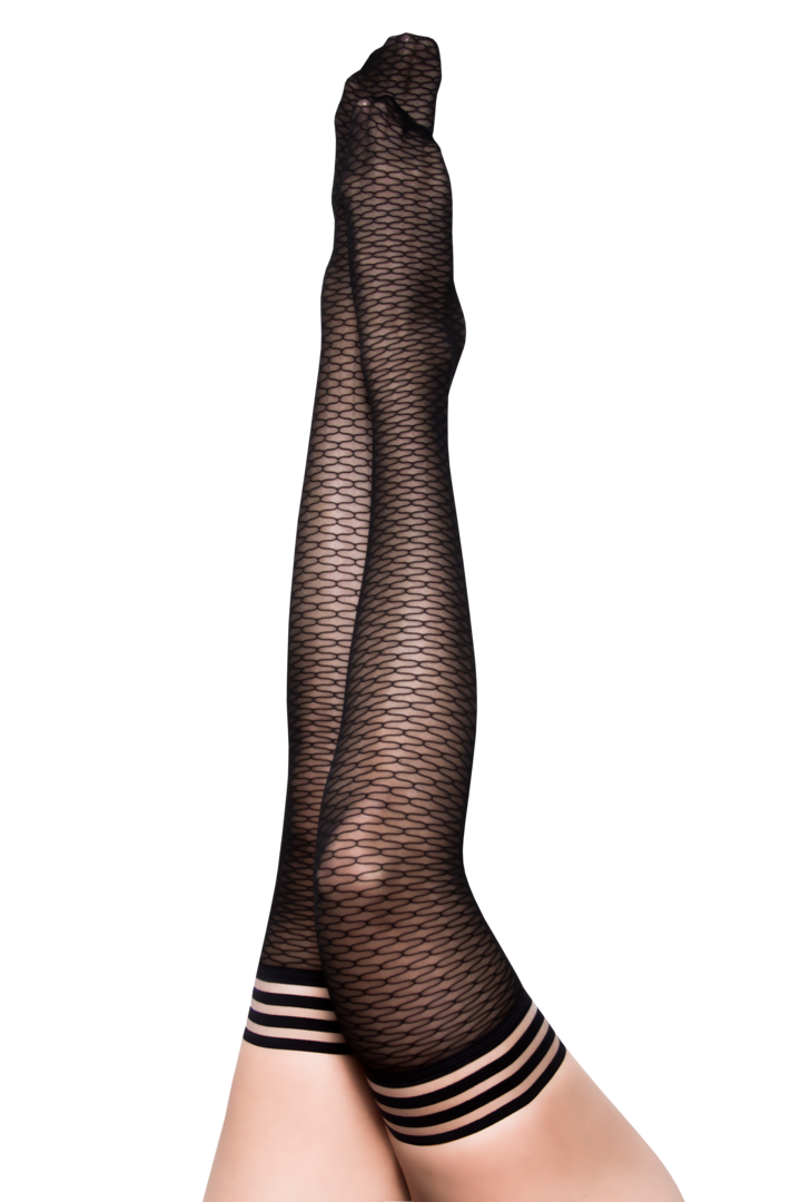 BethAnne Black Honeycomb Thigh Highs