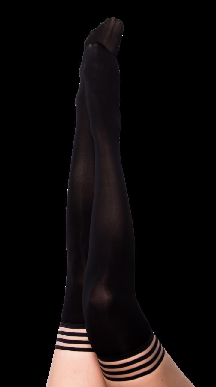 Danielle Black Opaque Thigh Highs